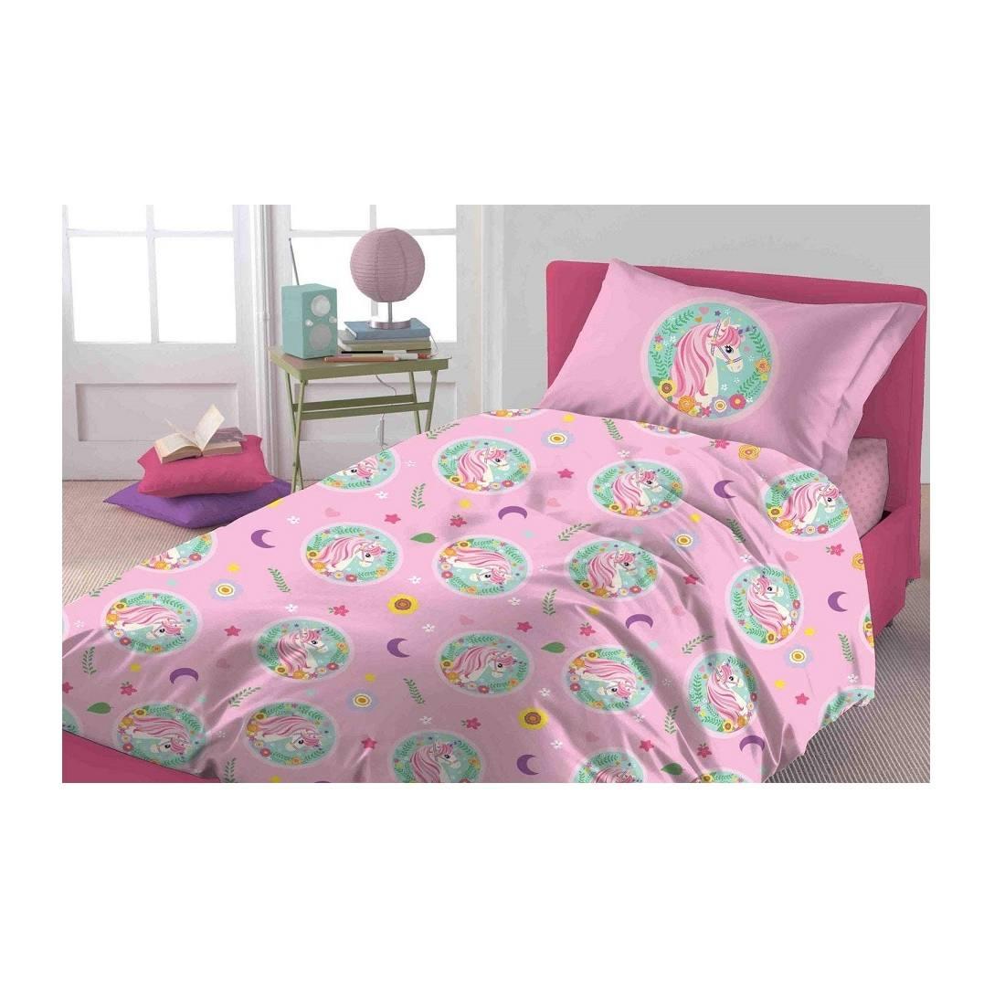 Lenzuola Singole Completi Letto Singoli Biancheriamusella Completo Lenzuola Unicorno Singola Novia Una Piazza Unicorno Rosa